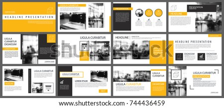 Yellow presentation templates and infographics elements background. Use for business annual report, flyer, corporate marketing, leaflet, advertising, brochure, modern style. #744436459