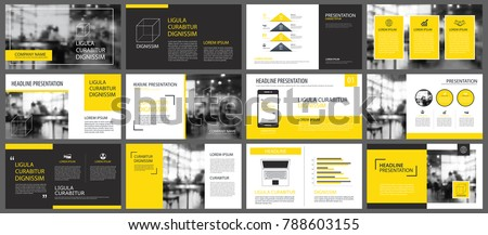 Yellow presentation templates and infographics elements background. Use for business annual report, flyer, corporate marketing, leaflet, advertising, brochure, modern style. #788603155