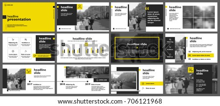 Yellow presentation templates elements on a white background. Vector infographics. Use in Presentation, flyer and leaflet, corporate report, marketing, advertising, annual report, banner. #706121968