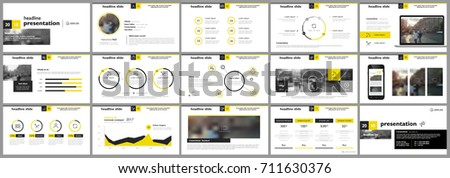 Yellow presentation templates elements on a white background. Vector infographics. Use in Presentation, flyer and leaflet, corporate report, marketing, advertising, annual report, banner. 商業照片 ©