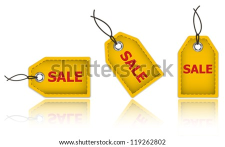 Yellow price tags made of leather and with the word sale. Labels for shopping. Vector illustration