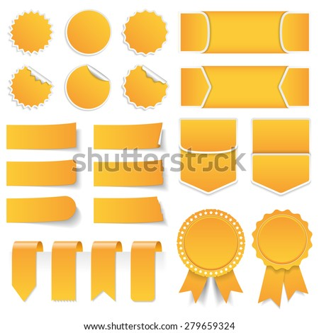 Yellow price tags, stickers, labels, banners and ribbons, vector eps10 illustration