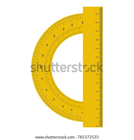 Yellow protractor ruler icon. Flat illustration of yellow protractor ruler vector icon for web.
