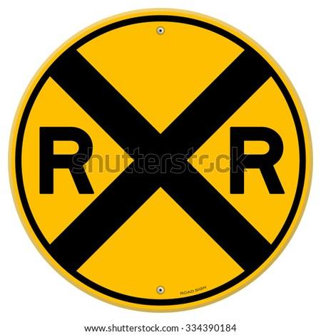 Yellow Rail Sign - Railroad warning symbol isolated on white background