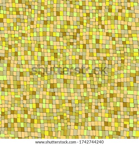 Yellow random mosaic. Сhaotic mosaic pattern. Abstract background with geometric design. Square pattern. Vector mosaic background. Follow other mosaic patterns in my collections.