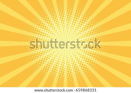 yellow rays pop art background. retro vector illustration