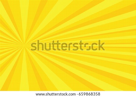 yellow rays pop art background. ...
