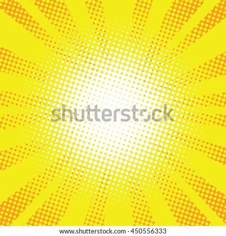 Yellow rays pop art retro comic background vector illustration.