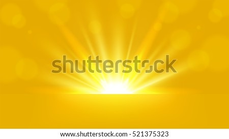 yellow rays rising on bright