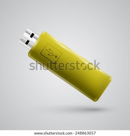 yellow realistic pendrive