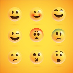 Yellow realistic set of emoticons, vector illustration