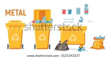 yellow recycle garbage bin for