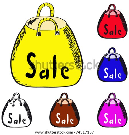Yellow, red, blue and transparent shopping bag discount on a white background.