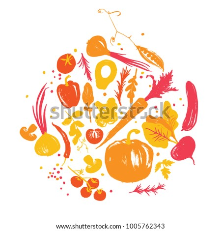 Yellow-red colored various of vegetables in a circle. Autumn crop. Farm market products. Fall palette