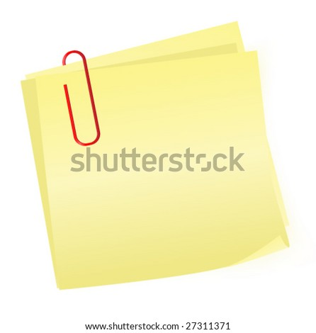 yellow reminder notes with paperclip