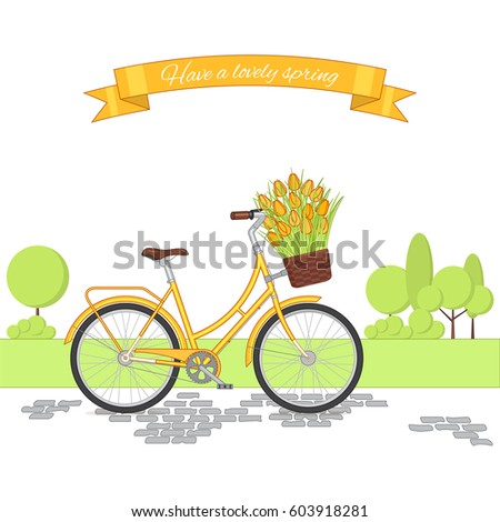 yellow retro bicycle on cycling