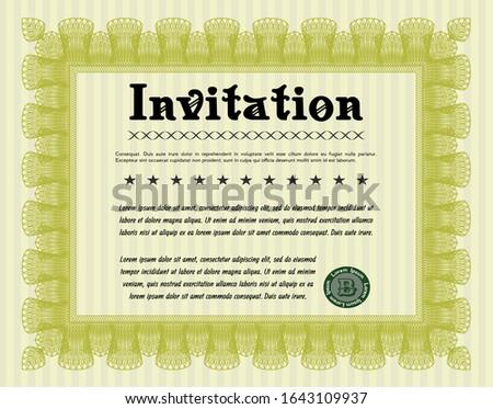 Yellow Retro invitation. Customizable, Easy to edit and change colors. Printer friendly. Cordial design.