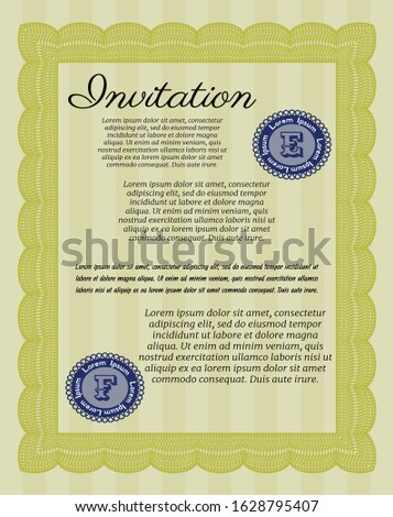 Yellow Retro invitation. With guilloche pattern. Customizable, Easy to edit and change colors. Nice design.