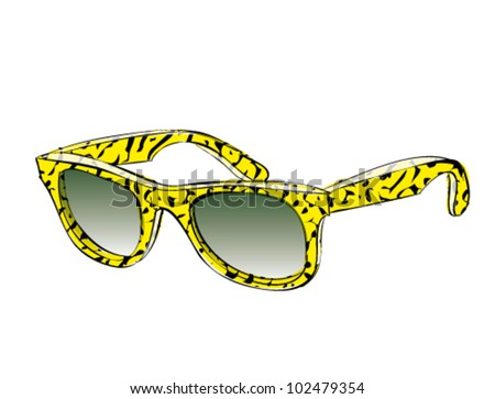Yellow Retro Sunglasses With Pattern Doodle isolated on white background - stock vector