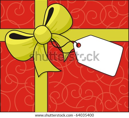 yellow ribbon and bow with hang tag on swirls shapes background in vector format, individual objects very easy to edit