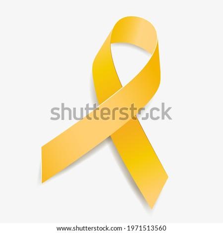 Yellow ribbon awareness Adenosarcoma, Bladder Cancer, Bone Cancer, Endometriosis, Sarcoma, Spina Bifida. Isolated on white background. Vector  illustration.