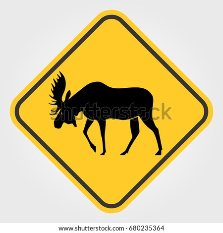 Yellow Road sign - Attention Animal, Moose.