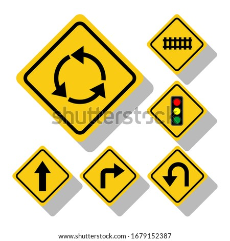 yellow road signs  traffic