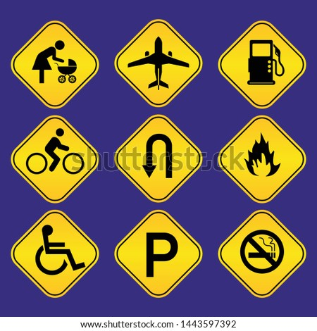 yellow road signs, traffic signs, street sign Illustration #1443597392