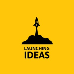 Yellow rocket and white cloud, icon in flat style isolated on yellow background, conceptual of start up new business project, take off of a business or project or extraterrestrial travel vector