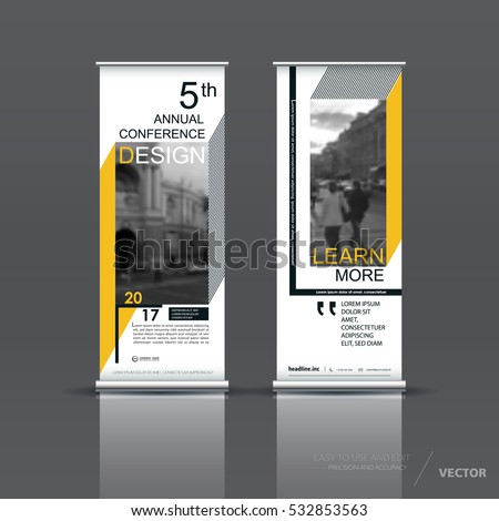 Yellow roll up banner design brochure flyer vertical template, vector x-banner and street business flag-banner, cover presentation abstract geometric background vertical layout
