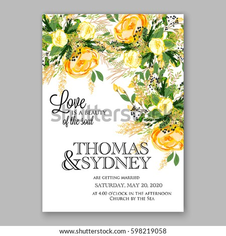 yellow rose floral wedding