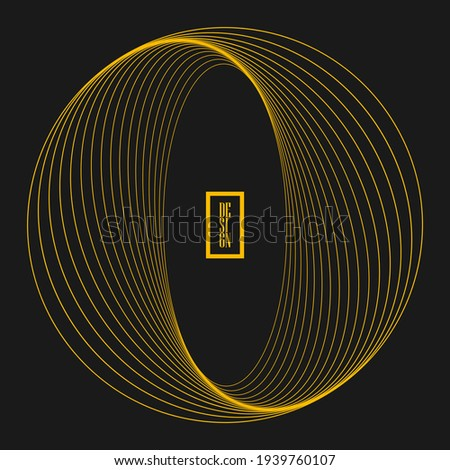 Yellow rotated round shape. Gray background. Trendy design element for frame, round technology logo, sign, symbol, web pages, prints, posters, template, pattern and abstract background