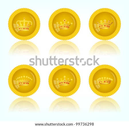 Yellow round button with a picture of a crown, vector, 10eps.