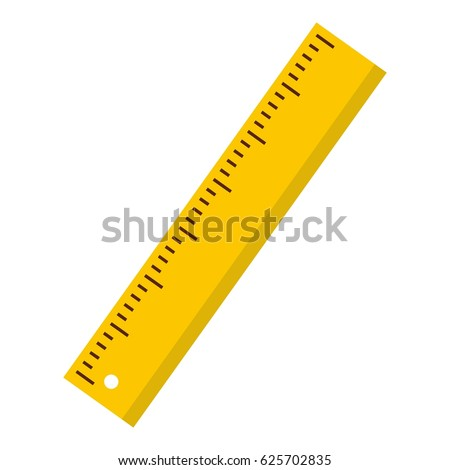 Yellow ruler icon. Flat isolated illustration of rule vector icon for any web design