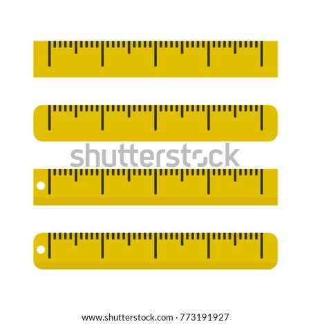 Yellow ruler icon. Vector illustration.
