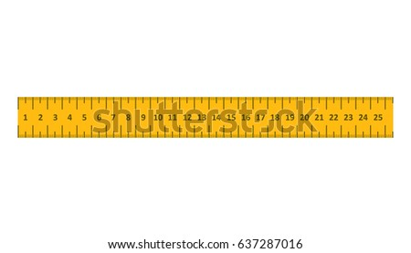 Yellow ruler. Instrument of measurement vector illustration.