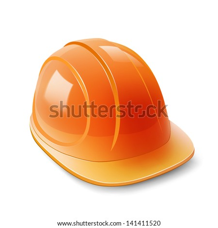 Yellow safety helmet on white background, hard hat isolated on white, Vector illustration