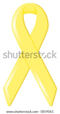 """Yellow satin awareness ribbon, supporting various causes including """"Support Our Troops"""" and equality"""