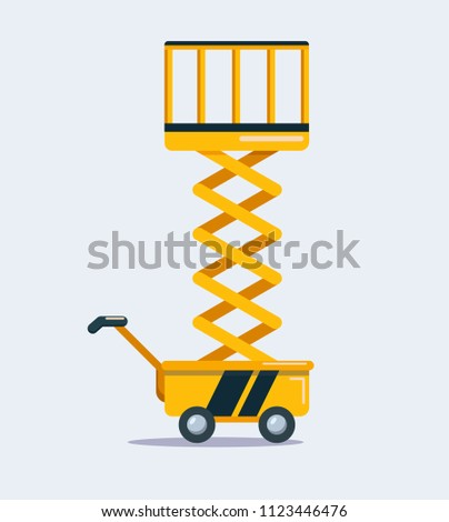 Yellow scissor lift isolated on a light background. Vector illustration in a flat style