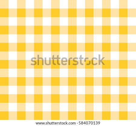 Yellow Seamless Table Cloth With Plaid Gingham Picnic Pattern.
