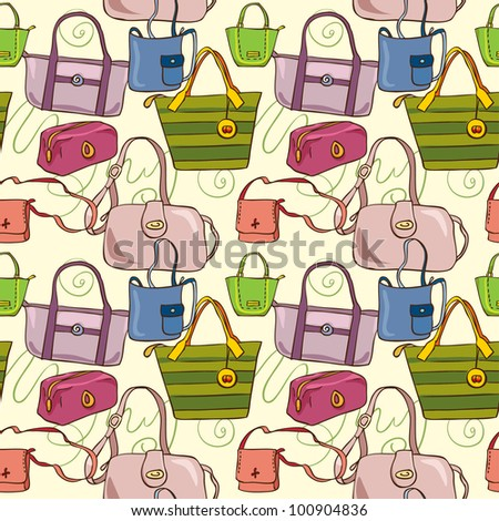 yellow seamless texture with fashionable bags painted by hand