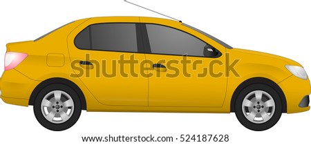 yellow sedan car  isolated on