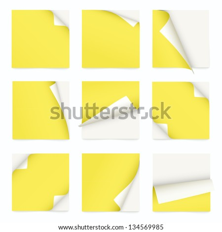 yellow set of note paper with curled corner - stock vector
