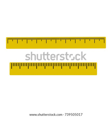 Yellow set of rulers with black markup. Vector illustration