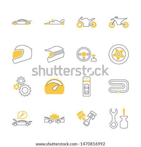 yellow shadow design icon set