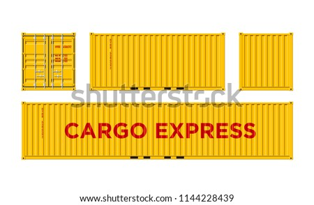 Yellow Shipping Cargo Container for Logistics and Transportation Isolated On White Background Vector Illustration Easy To Change