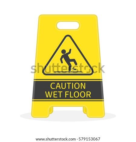 yellow sign caution wet floor