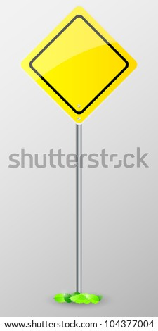 Yellow sign isolated on grey background with green leaves. Vector illustration.