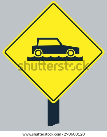 Yellow sign with car on flood slip water road silhouette, for transportation design