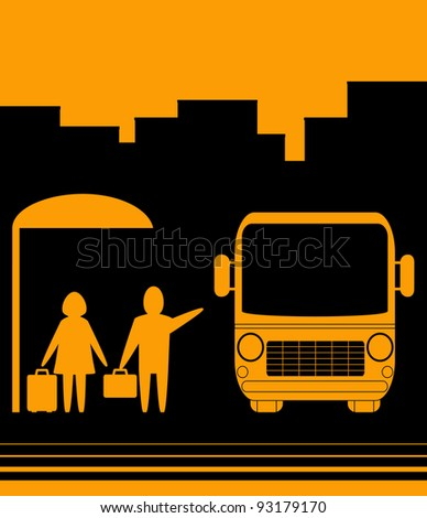 yellow sign with image bus stop and people woman and men